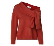 Asymmetrischer Pullover aus Merinowolle mit Bindedetail Vorne
