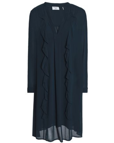 Ruffle-trimmed Georgette Dress Petrol