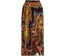 Pleated printed silk-georgette midi skirt