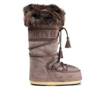 Faux Fur-trimmed Suede Snow Boots