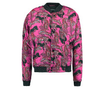 Printed Padded Shell Down Bomber Jacket Magenta
