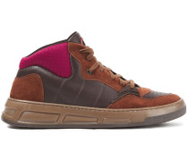 Quilted Neoprene, Leather And Suede Sneakers