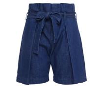 Boy Belted Pleated Denim Shorts