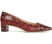 Andrea Snake-effect Leather Pumps