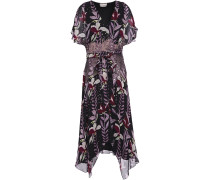 Bellflower Sequin-embellished Floral-print Georgette Dress