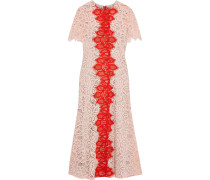 Woman Two-tone Corded Lace Midi Dress Baby Pink