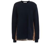 Bedrucktes Sweatshirt mit Einsätzen aus Webstoff und Baumwollfrottee