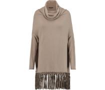 Fringed Cashmere Turtleneck Sweater Champignon