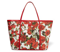 Printed Leather-trimmed Woven Tote Rot