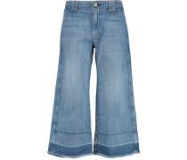 The Cropped Hampden Mid-rise Wide-leg Jeans Heller Denim