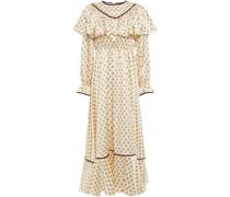 Velvet-trimmed Floral-print Satin Midi Dress