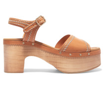 Audry Embroidered Leather Clogs Camel