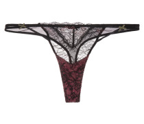 Mineral Sands Low-rise Lace And Stretch-tulle Thong Schwarz