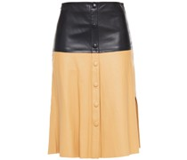 Britney Button-detailed Leather Midi Skirt