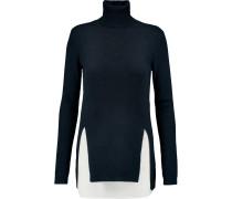 Merino Wool And Washed-silk Turtleneck Sweater Mitternachtsblau