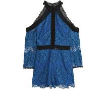 Cold-shoulder corded lace playsuit