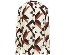 Bedrucktes Hemd aus Crêpe De Chine aus Seide mit Rückenausschnitt