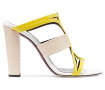 Lonni Elaphe And Leather Sandals Knallgelb