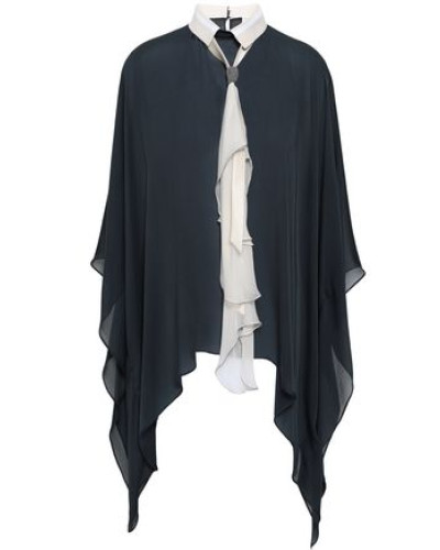 Tie-neck Bead-embellished Draped Silk-chiffon Blouse Charcoal