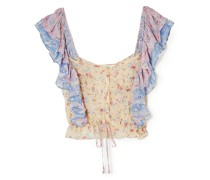 Avery Cropped Ruffled Floral-print Silk-georgette Top