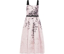 Bow-embellished Pleated Metallic Printed Jacquard Gown