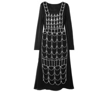 Mehrlagiges Kleid aus Georgette mit Kristallverzierung und Rückenausschnitt