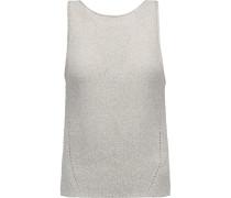 Pointelle-knit Cotton-blend Tank Hellgrau