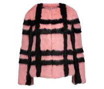 Gustav checked faux fur coat