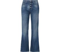 Cropped Mid-rise Bootcut Jeans Mittelblauer Denim