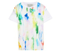 T-shirt aus Biobaumwoll-jersey und Crêpe De Chine aus Seide mit Print