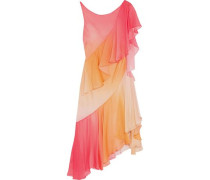 Miracle asymmetric tiered silk dress