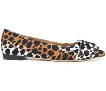 Leopard-print Scuba Point-toe Flats