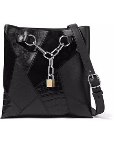Alexander Wang Damen Paneled chain-embellished suede, croc-effect and textured-leather tote