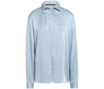 Lace-up Satin-crepe Shirt