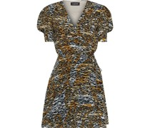 Lea Printed Silk Crepe De Chine Mini Wrap Dress
