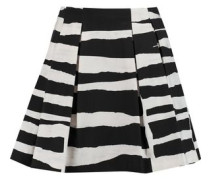 Connor pleated striped stretch-cotton mini skirt