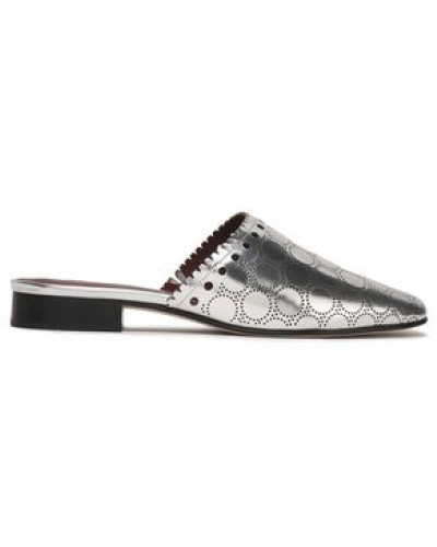 Diane von Furstenberg Damen Leonora perforated metallic leather slippers
