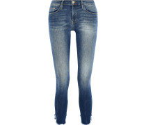Le Skinny De Jeanne Cropped Distressed Mid-rise Skinny Jeans