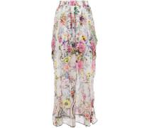 Crystal-embellished Floral-print Silk-georgette Maxi Skirt