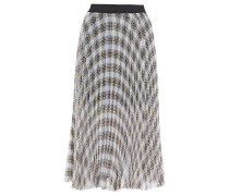 Pleated Prince Of Wales Checked Crepe De Chine Midi Skirt