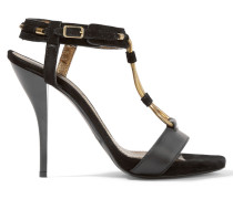 Suede And Leather Sandals Schwarz