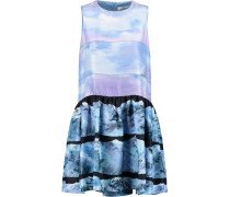 Printed Silk Mini Dress Himmelblau