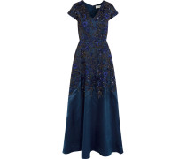 Embellished Crepe Gown Navy