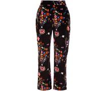 Cropped Hose mit Geradem Bein aus Samt aus Einer Baumwollmischung mit Floralem Print