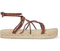 Braided Leather Platform Espadrille Sandals