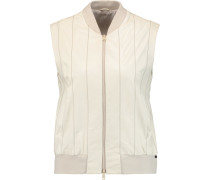 Bead-embellished Leather Vest Wollweiß