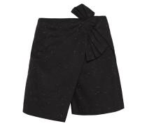 Woman Layered Bow-embellished Slub Denim Shorts Black
