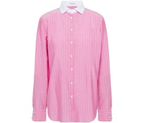 Bead-embellished Pinstriped Cotton Shirt