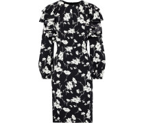 Ruffled Floral-print Crepe De Chine Dress