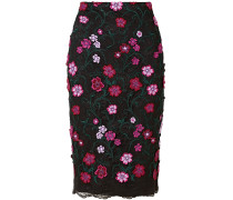 Floral-appliquéd Embroidered Lace Midi Skirt